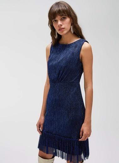 People By Fabrika Volan Detaylı Kemerli Elbise Saks